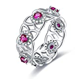 (US) Merthus Red Ruby July Birthstone Flower Open Floral Eternity Stackable Band Ring 925 Sterling Silver