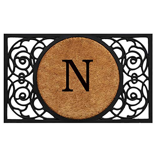 Calloway Mills 180031830N Armada Circle Monogram Doormat, 18 x 30 Letter N