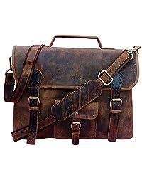 """Handolederco. Vintage Leather Laptop Bag 15"""" Messenger Handmade Briefcase Crossbody Shoulder Bag School Bag"""