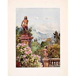 1908 Print Isola Bella Lake Maggiore Italy Hydrangeas Garden Ella Du Cane Art - Original Color Print