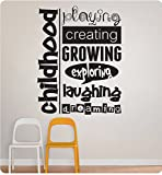 30'' Childhood Collage Saying Playing Creating Growing Exploring Laughing Dreaming School Day Care Kids Children Wall Decal Sticker Art Mural Home Décor Quote