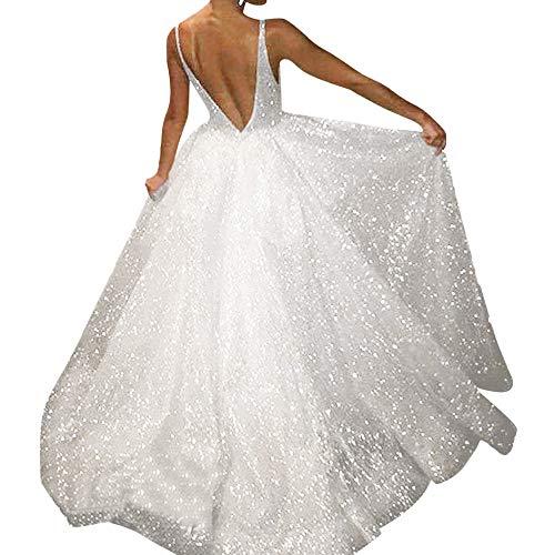 (Women Dress Fitfulvan Sexy V Neck Sleeveless Vest Solid Soild Sling Party Sheath Long Dress Silver)