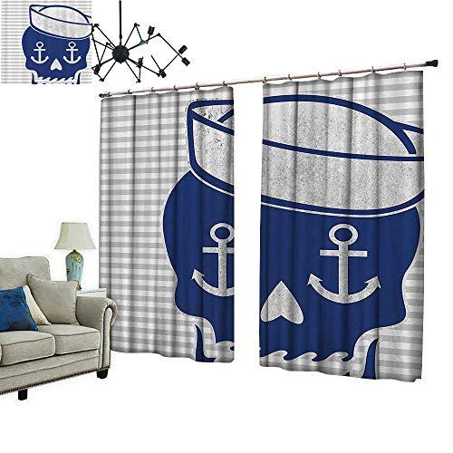 PRUNUS Window Curtains with Hook Sailor Cap Skull Anchor Gray Striped Dia Los Muertos Theme Heart Improve Living Environment,W96.5 xL96.5