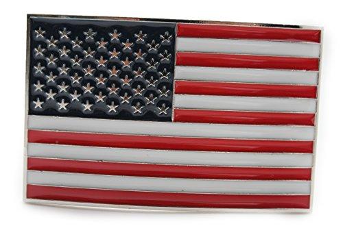 TFJ Men's Women's Fashion Belt Buckle Silver Metal Square USA American Flag 4th July - Texas Flag Belt Buckle