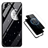 iPhone 6S Tempered Glass Case,Vandot 3 in 1 Clear Sleek 9H Hardness Hard Back Panel + Soft TPU Frame + PC Panel Bumper Hybrid Protection Scratch-Resistant Full Edges Protective Case-Moon & Stars