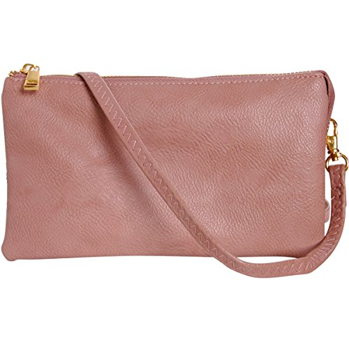 Humble Chic Vegan Leather Small Crossbody Bag or Wristlet Clutch Purse, Includes Adjustable Shoulder and Wrist Straps, Dusty Rose, Light Pink, Blush
