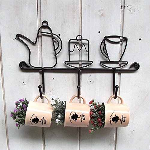 Katoot@ Wall Mounted Metal Iron Hooks Clothes Hats Rack Sundries Organizer Storage Holder Cups Shelf Home Kitchen Decoration Newest