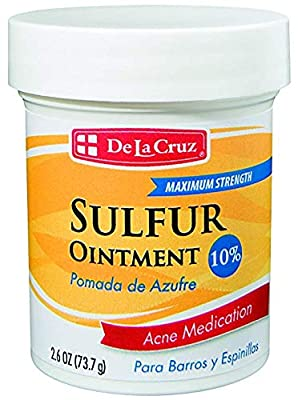 De La Cruz 10% Sulfur Ointment Acne Medication/Allergy-Tested and Fragrance Free/Made in USA 2.6 OZ.