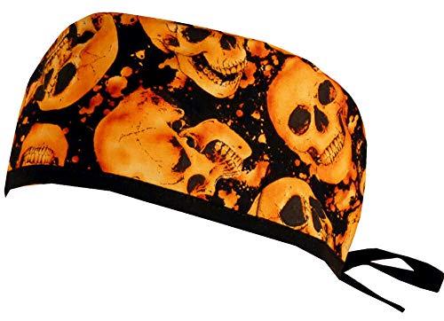 Sparkling Earth Mens and Womens Surgical Scrub Cap - Tossed Orange Skulls on Black - Orange Scrub Cap