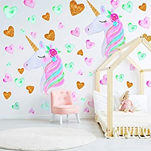 2 Pieces Large Size Unicorn Wall Decal Unicorn Decor Unicorn Wall Stickers Colorful with Heart Flower for Kids Bedroom, Nursery Room, Living Room Decor