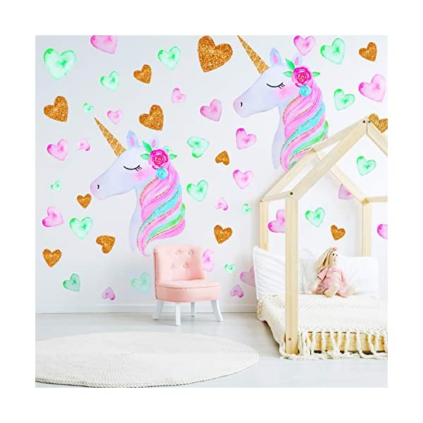 2 Pieces Large Size Unicorn Wall Decal Unicorn Decor Unicorn Wall Stickers Colorful with Heart Flower for Kids Bedroom, Nursery Room, Living Room Decor 3