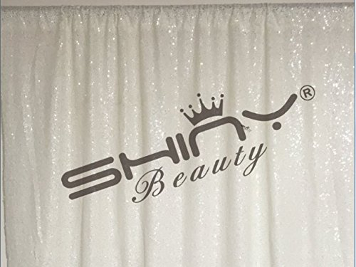ShinyBeauty 12FTx20FT-Sequin Backdrop-White,Sequin Fabrics Photography Curtain,Shimmer Photo Booth Backdrop (White) by ShinyBeauty