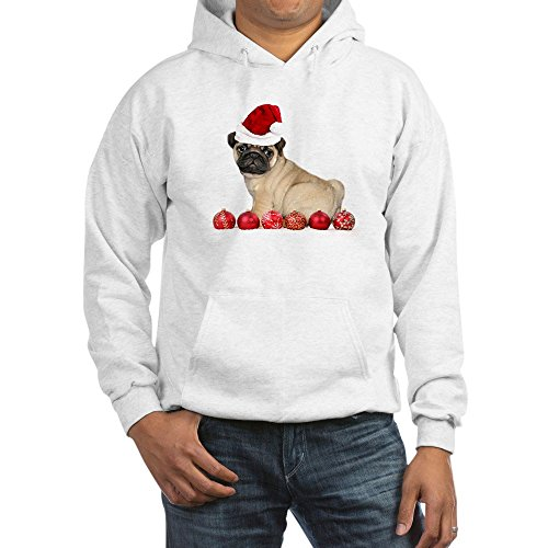 (CafePress Christmas Pug Dog Hoodie Pullover Hoodie, Classic & Comfortable Hooded Sweatshirt White)