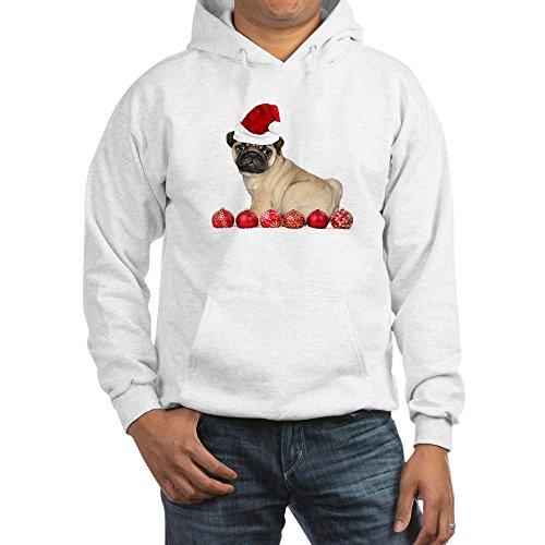 CafePress Christmas Pug Dog Hoodie Pullover Hoodie, Classic & Comfortable Hooded Sweatshirt White