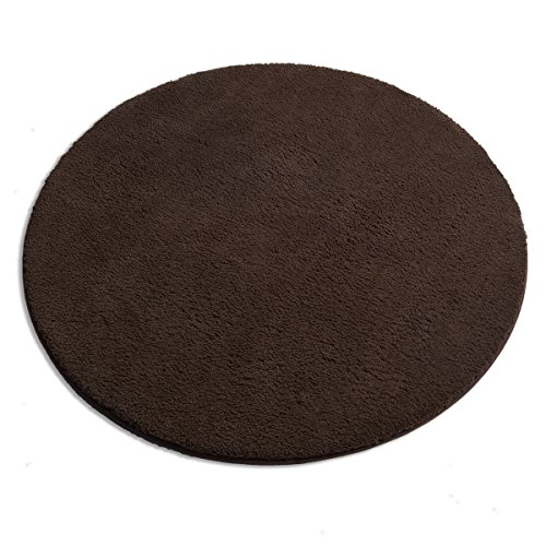 MAYSHINE Round39 inch Brown Non-Slip Soft Microfber Mat Luxurious Area Rug Machine-Washable for Living Room Bedroom Kitchen