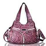 Angel Barcelo Roomy Fashion Hobo Womens Handbags Ladies Purse Satchel Shoulder Bags Tote Washed Leather Bag Red Mahogany