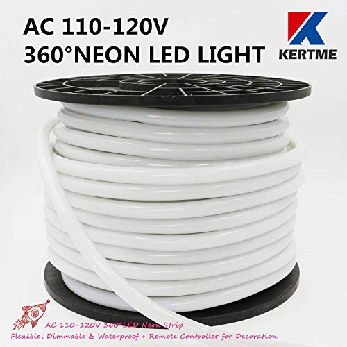 KERTME 360° Neon Led Type AC 110-120V 360 Degree NEON LED Light Strip, Flexible/Waterproof/Dimmable/Multi-Modes LED Rope Light + Remote for Home/Garden/Building Decor (65.6ft/20m, Pink) by KERTME (Image #1)