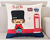 NOMSOCR Throw Pillow Cases, Soldier Pattern Square Soft 18 x 18 Throw Pillow Cases Cushion Cotton Linen Home Decorative for Sofa Couch Bedroom Car (A, 18x18 inch)