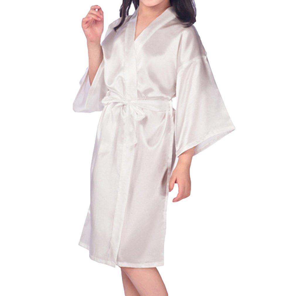 Hibote Flower Girls Raso Kimono túnicas Boda Dama de Honor Batas Albornoz para niños Ropa de Dormir camisón: Amazon.es: Ropa y accesorios