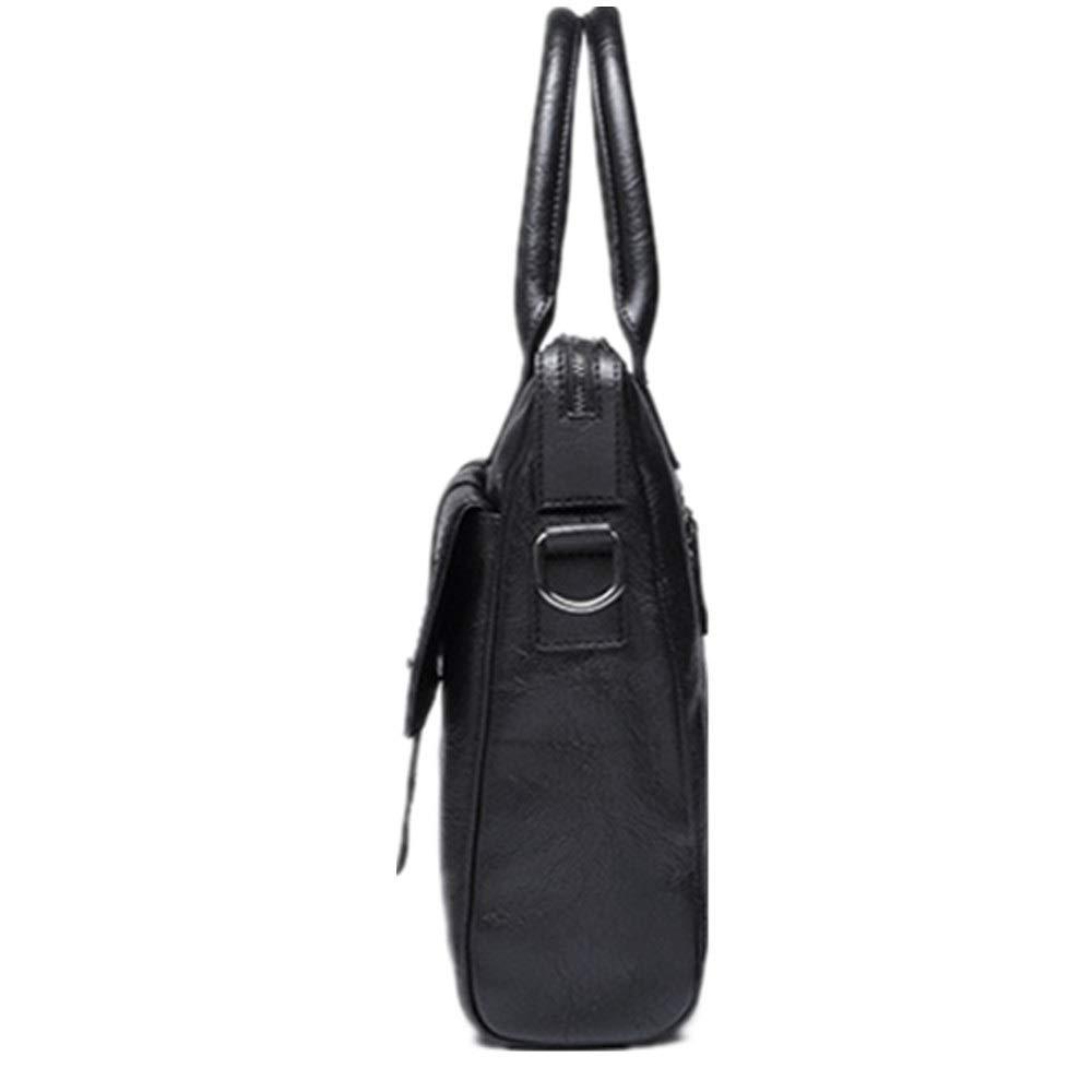 Color : Black, Size : Free Size FeliciaJuan Handmade Leather Briefcase Mens Bags Shoulder Messengers Handbags Casual British Officials Retro Travel Mens Computer Bags