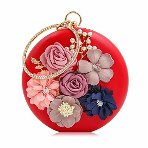 Red Clutches Day Flower Tanling Wedding Ladies Clutch Purse Female Bags Bag Party Evening Women SwA8xAqTO