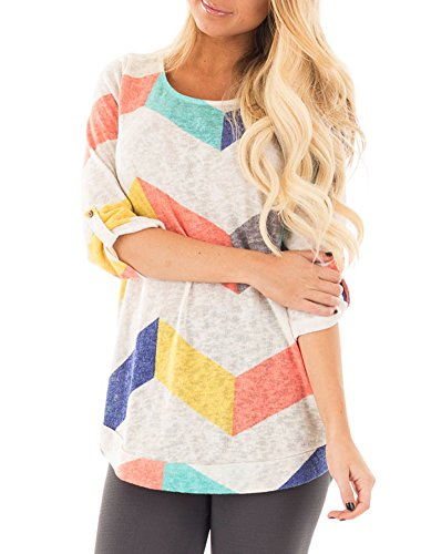 zesica-womens-3-4-sleeve-multi-color-chevron-stripes-tunic-casual-blouse-tops
