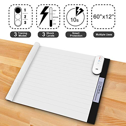Pet Training Mat - 60 x 12 Inches Pet Shock Mat Scat Mat for Cats Dogs, 3 Training Modes Pet Shock Pad, Indoor Use Dogs Cats Training Mat for Sofa w/LED Indicator, Intelligent Safety Protect