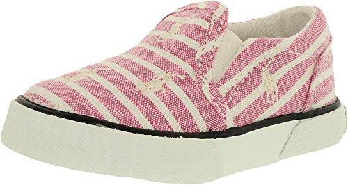 Polo Ralph Lauren Kids Balharbrrpt PK BNG STP-WT Fashion Sneaker (Toddler/Little Kid), Pastel Pink/Bengal Stripe, 1.5 M US Little Kid