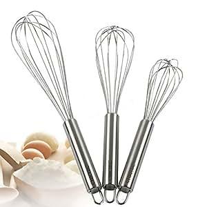"""CHICHIC 3Pcs 8"""" + 10"""" + 12"""" Stainless Steel Whisk kitchen Whisk Set Kitchen Whip Kitchen Utensils Wire Whisk Balloon Whisk Set for Blending, Whisking, Beating & Stirring"""