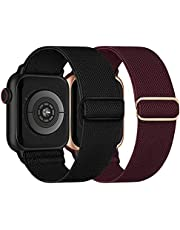 Stretchy Nylon Solo Loop Bands Compatible with Apple Watch 38mm 40mm 42mm 44mm, Adjustable Braided Sport Elastic Straps Women Men Wristbands for iWatch Series 6/5/4/3/2/1 SE, 2 Packs