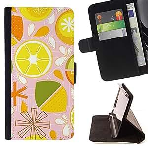Patrón lima limón Citrus estilizado- Modelo colorido cuero de la carpeta del tirón del caso cubierta piel Holster Funda protecció Para Apple (5.5 inches!!!) iPhone 6+ Plus / 6S+ Plus