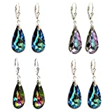 Swarovski Elements Crystal Sterling Silver Leverback Dangle Earrings