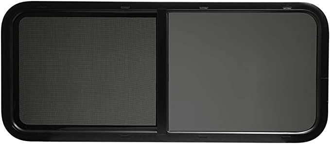 ToughGrade Horizontal Sliding Black RV Window Includes Mounting Ring and Screen