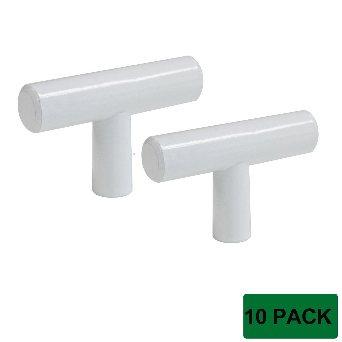 Probrico Modern Cabinet Hardware Handle Pull Kitchen Cabinet T Bar Knobs and Pull Handles White Stainless Steel Hardware For Closet Drawer - Single Hole - 10 Pack