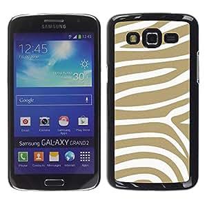 FECELL CITY // Duro Aluminio Pegatina PC Caso decorativo Funda Carcasa de Protección para Samsung Galaxy Grand 2 SM-G7102 SM-G7105 // Beige White Pattern Animal Stripes
