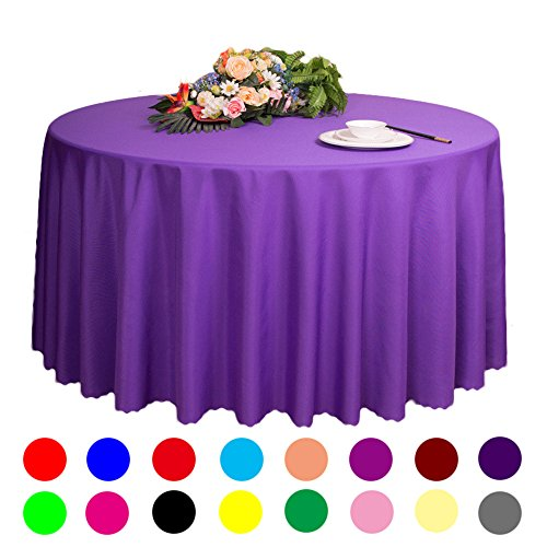 "Adasmile Solid Polyester Wedding Restaurant Party Round Tablecloth Tablecovers for Event & Party Supplies (118""/3m, violet)"