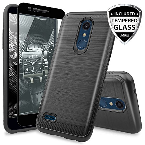 TJS LG K10 2018/K30/Premier Pro LTE/Harmony 2/Phoenix Plus Case, With [Full Coverage Tempered Glass Screen Protector] Shockproof Phone Case Cover Metallic Brush Finish Hard Inner Layer - Metallic Access Lte Case Lg