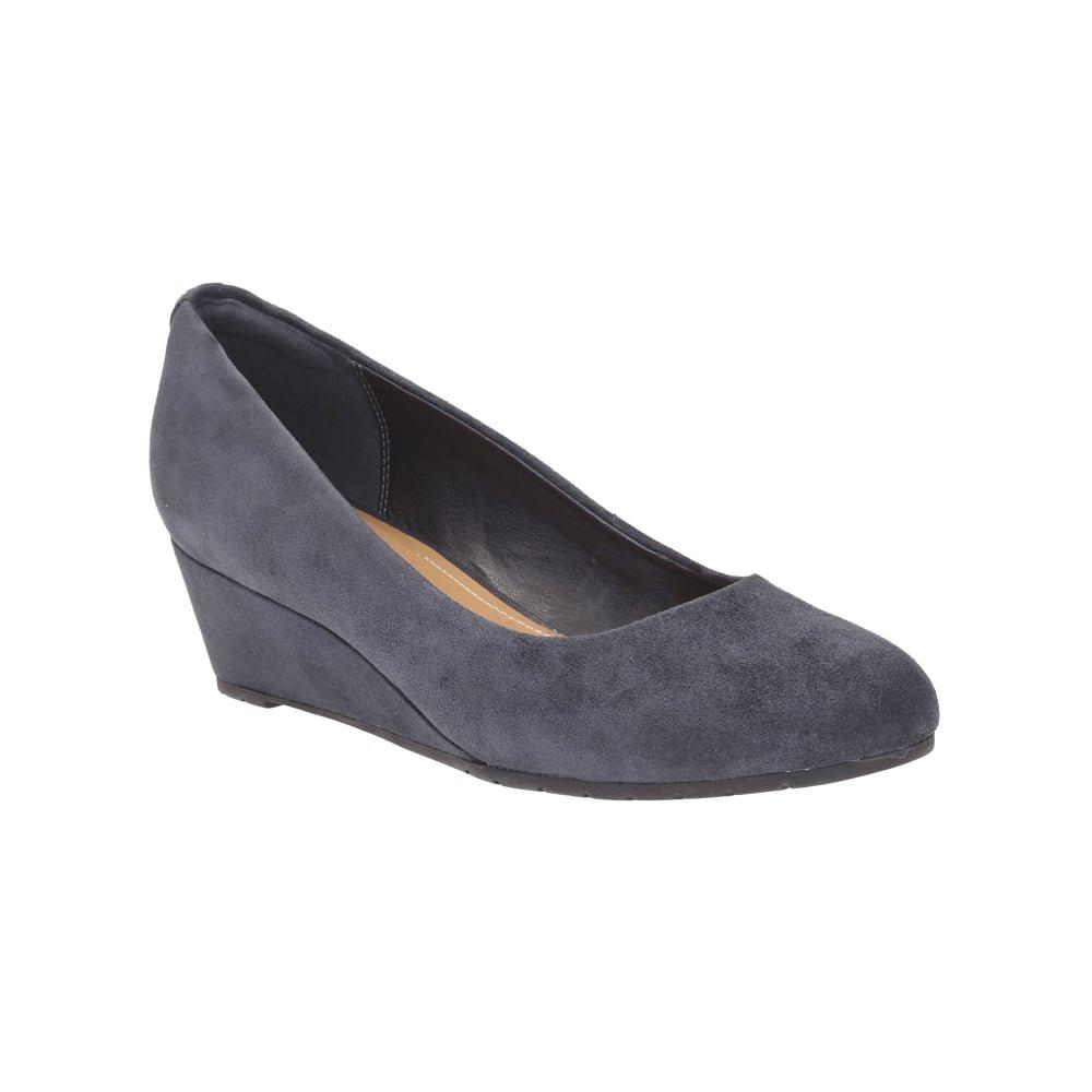 Clarks Vendra Bloom, Zapatos de Cuña Mujer 42 EU Ante Azul Marino
