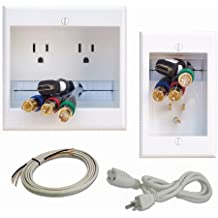 PowerBridge TWO-PRO-6 Dual Power Outlet Professional Grade Recessed In-Wall Cable Management System for Wall-Mounted Flat Screen LED, LCD, and Plasma TV's