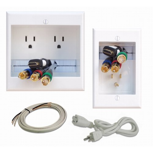 PowerBridge TWO-PRO-6 Dual Power Outlet Professional Grade Recessed In-Wall Cable Management System for Wall-Mounted Flat Screen LED, LCD, and Plasma - Wall Cable Management Kit
