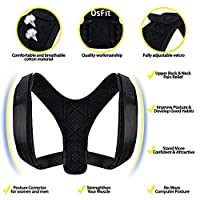 OsFit Posture Corrector With Exercise Band: Back Brace For Shoulder And Spine Alignment, Clavicle Support For Training And Injury Recovery, Comfortable Design For Men And Women