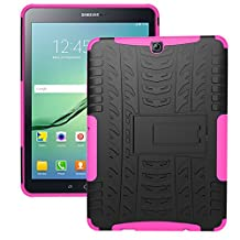 Tab S2 9.7 Case, iCoverCase [Heavy Duty] Hybrid Shock Proof Protective Case Dual Layer Armor Defender Rugged Drop Proof Cover with Kickstand for Samsung Galaxy Tab S2 9.7 SM-T815/SM-T810 (Hot Pink)