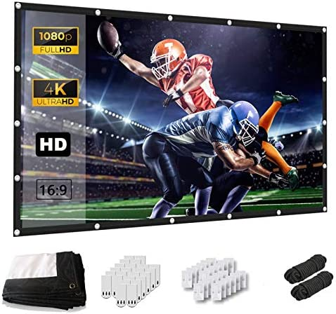 Projector Screen, Keenstone 120 Inch Projection Screen 4K 16:9 HD Foldable Wrinkle-Free Portable Movies Screen for Home Backyard Theater Outdoor Indoor Support Double Sided Projection, High Contrast