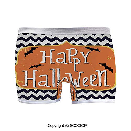 SCOCICI Women Sexy Yoga Boyshort Panties Cute Halloween Greeting Card with Fun 3D Print