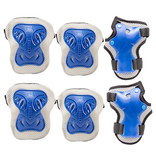PAMASE Knee Elbow Wrist Protective Pads for Kids - Sports Safety Pads Set for Rollerblade, Cycling, Skateboard- Blue S