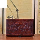 mahogany jewelry box/Red Dragon relief box/ Redwood crafts/ fine jade box-A