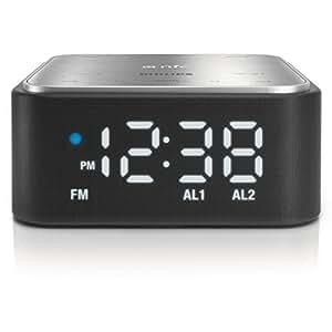 Philips SB170/37 Reloj Negro - Radio (Reloj, FM, 6 W, A2DP,AVRCP,SPP, iPad (1 gen),iPad 2,iPad 4,iPad mini,iPhone 3GS,iPhone 4,iPhone 4S,iPhone 5,iPod Touch 3,iPod..., Negro)