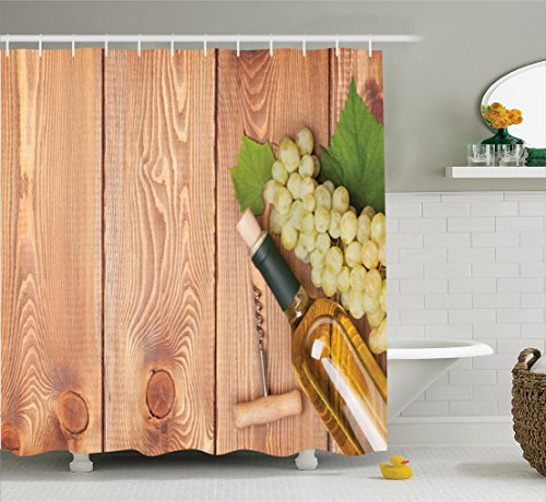 Winery Decor Shower Curtain Set By Ambesonne, Wine Bottle And Bunch Of Grapes On Wooden Table Background Romantic Italian Dinner Theme, Bathroom Accessories, 69W X 70L Inches, Green Brown