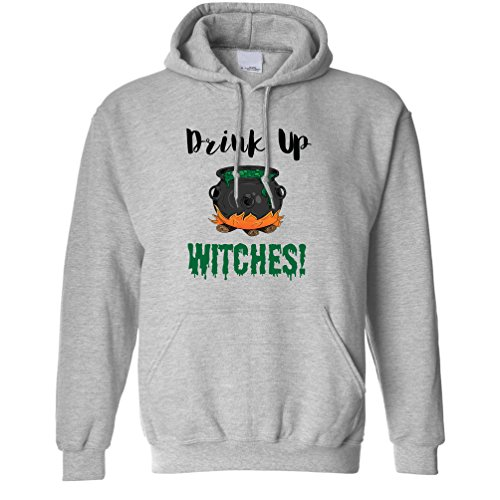 Tim And Ted Halloween Unisex Hoodie Drink Up, Witches Cauldron Grey S -