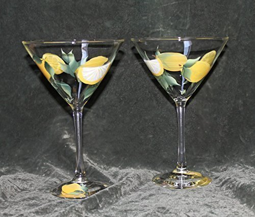 Hand Painted Martini Glasses - Lemons Drops (Set of 2) - Elegance Stemware